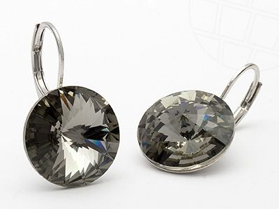 Pierced Earrings with Original Swarovski Cryslals Black Diamond