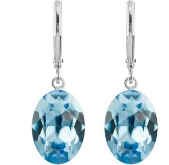 Pierced Earrings with Original Swarovski Crystals Aquamarine