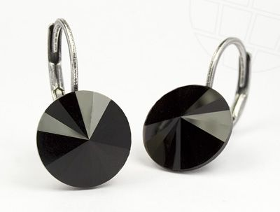 Pierced Earrings with original Swarovski Crystals Jet Black