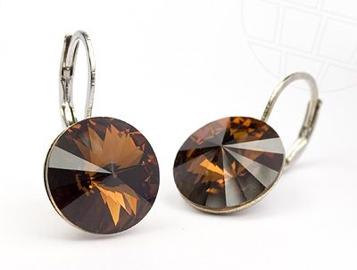 Pierced Earrings  with original Swarovski Elements Crystals Smoked Topaz