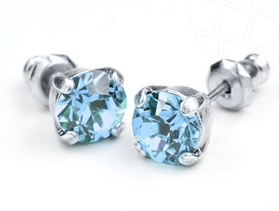 Stud Earrings  with Swarovski Crystals Aquamarine