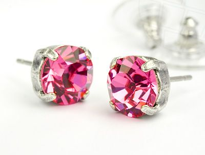 Stud Earrings with Swarovski Crystals Rosé